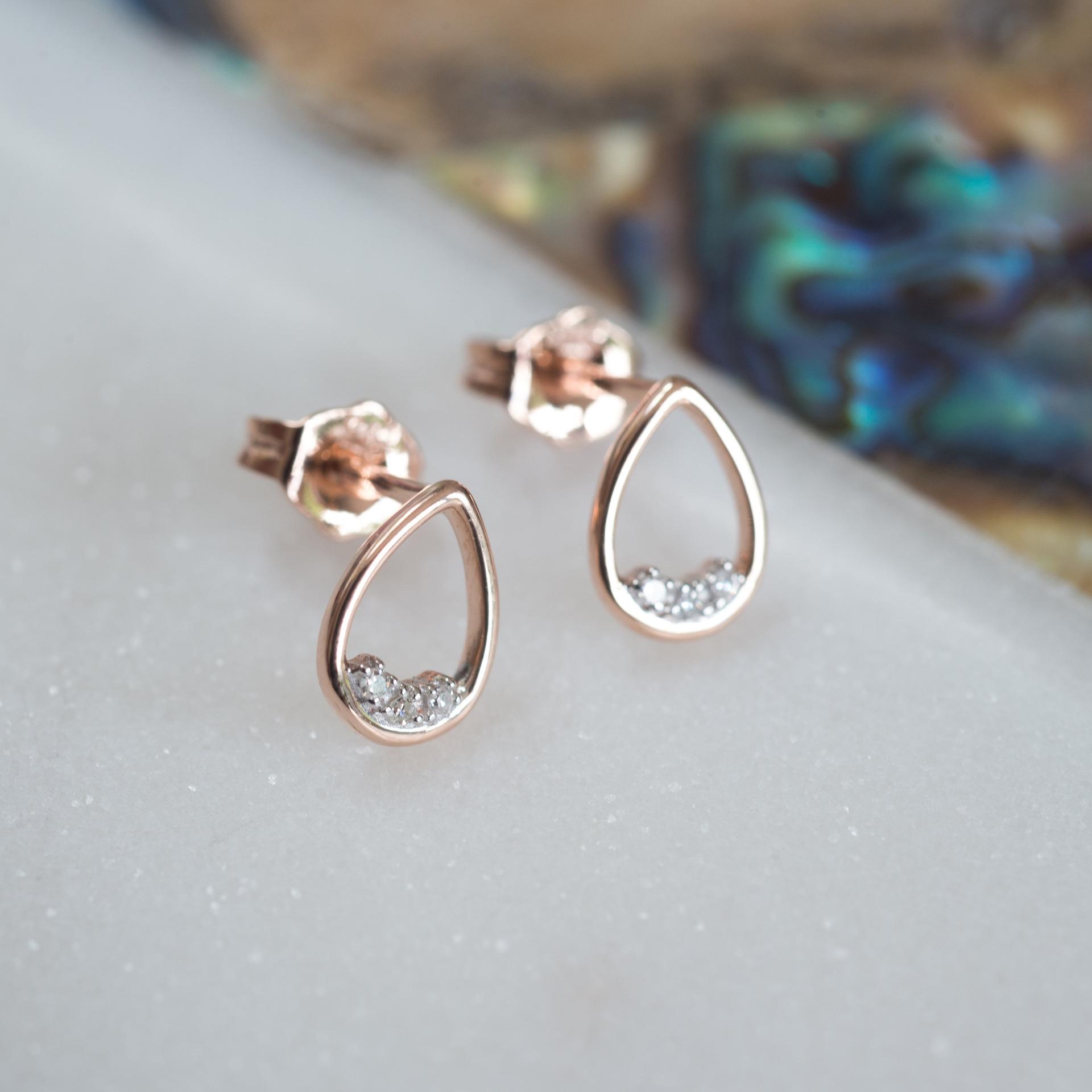 9K Rose Gold Teardrop Diamond Earring – All Kinds of Jewellery